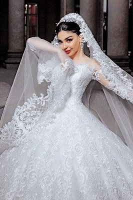 Sheer Tulle Long Sleeve Ball Gown Wedding Dresses | Beads Appliques Bridal Gowns With Court Train