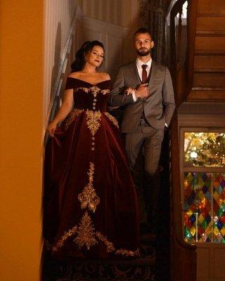 Off-the-shoulder Dark Burgundy Golden appliques Ball Gown Evening Dress_2