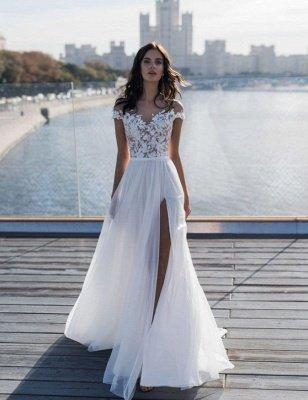 Off The Shoulder Appliques A-line Wedding Dresses | Cheap Side Split Tulle Bridal Gowns_3