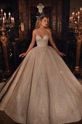 Vestido de novia de vestido de bola hinchado con cuentas brillantes de novia de lujo_1