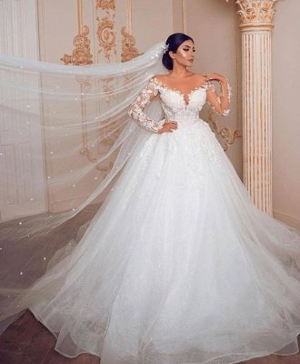 Appliques Sheer Tulle Ball Gown Wedding Dresses | Shiny Long Sleeve Cheap Bridal Gowns_2