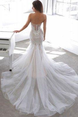 Einfache Sommerart White Sweetheart Mermaid Lace Brautkleid Online_2