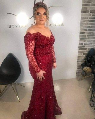 Borgoña Fuera del hombro Sirena Vestidos para madre de la novia_2