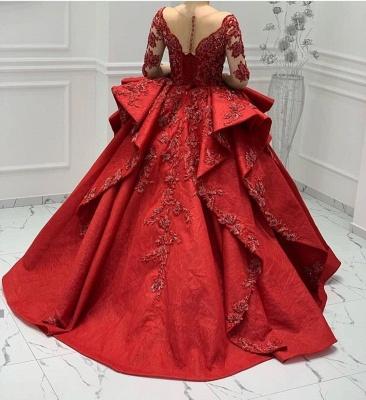 Appliques en dentelle bordeaux Manches longues Col en V Volants Robes de bal Robes de soirée_3