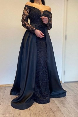 Long sleeves Black A-line off-the-shoulder Evening Dresses