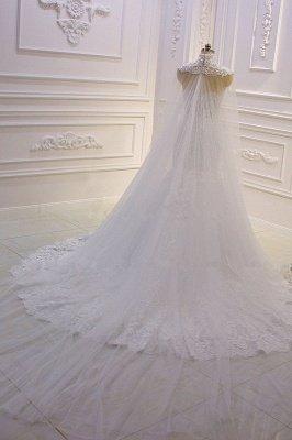 Luxury 3D Lace Applique High Neck Tulle Mermaid Wedding Dress_5