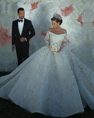 ترف الكريستال لامعة يزين الكرة بثوب الزفاف فساتين   قبالة الكتف أثواب الزفاف كم طويل_5