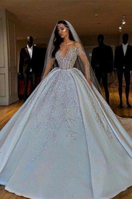 Sparkle Diamond Long sleeves Luxury Ball gown Wedding Dresses_1