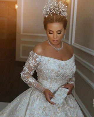 ترف الكريستال لامعة يزين الكرة بثوب الزفاف فساتين   قبالة الكتف أثواب الزفاف كم طويل_3