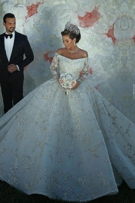 Luxury Shiny Crystal Appliques Ball Gown Wedding Dresses | Off The Shoulder Long Sleeve Bridal Gowns