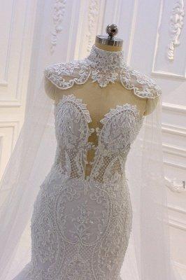 Luxury 3D Lace Applique High Neck Tulle Mermaid Wedding Dress_3