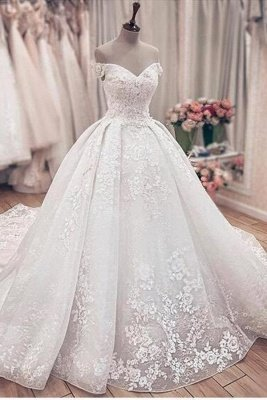 Off The Shoulder Floral Appliques Ball Gown Wedding Dresses | Lace Sleeveless Bridal Gowns