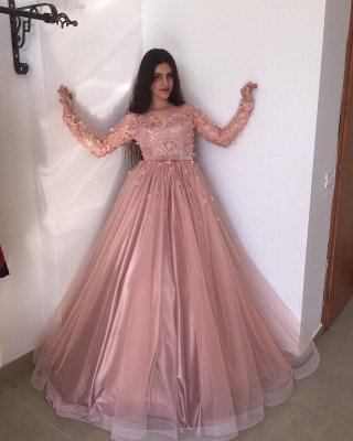Long sleeves Floral Blow Dusty Pink Ball Gown Tulle Prom Dresses_2