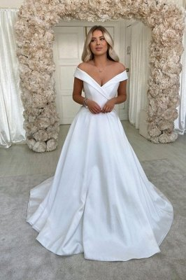Elegant Off The Shoulder V-neck Wedding Dresses | A-line Cheap Pleated Bridal Gowns