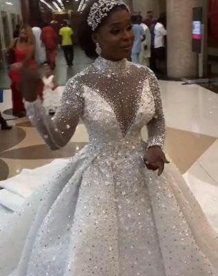 Lindo cristal cintilante vestido de baile vestidos de casamento | Gola alta manga longa vestidos de noiva_2