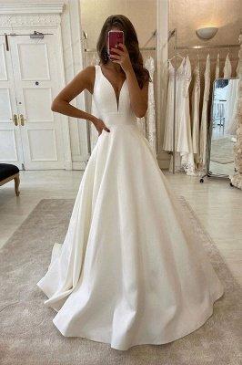 Элегантные V-образным вырезом без рукавов белые A-Line свадебные платья_1