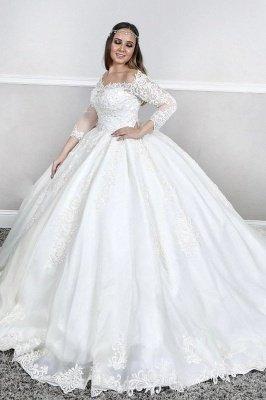 Manches longues Dentelle Col carré bouffante Robe de bal Traîne Tribunal Robes de mariée blanches_1