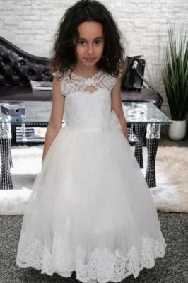 White Lace Keyhole Appliques Cute A-line Flower Girl Dress