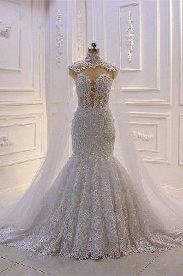 Vestido de novia de sirena de tul de cuello alto con apliques de encaje 3D de lujo_1