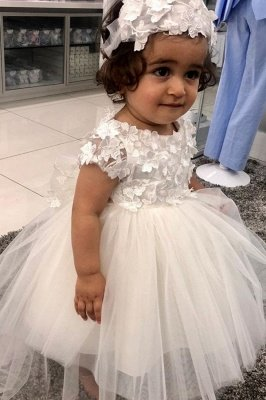 Princess White Short sleeves Lace Puffy Flower Girl Dresses