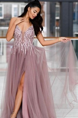 Sparkle Sequined High split Dusty pink Criss-cross Back Prom Dresses