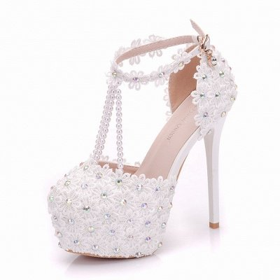Sparkle White High Heel Platform Lace Pearl Wedding Shoes