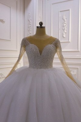 Sparkly Jewel Sequined Long Sleeves Princess Wedding Dress_2