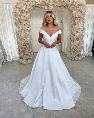 Elegante schulterfreie Brautkleider mit V-Ausschnitt | A-Linie Günstige Plissee Brautkleider_2