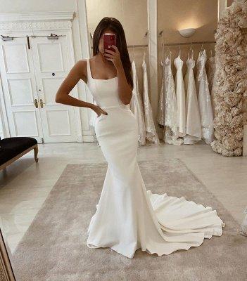 Sexy Spaghetti Strap Satin blanc longues robes de mariée_2