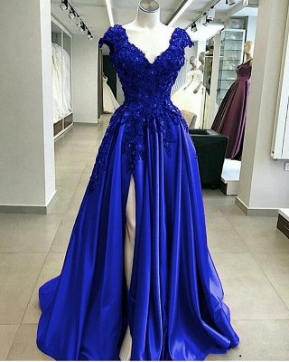 Royal Blue Cap sleeves V-neck High split A-line Evening Dresses