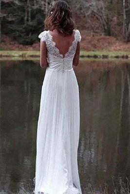 Chic Lace Shorts Sleeve V-neck Wedding Dresses | A-line Floor Length Cheap Bridal Gowns_2