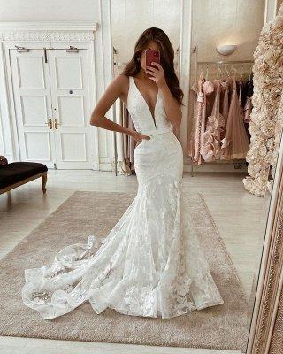 Уникальные без рукавов глубокие V-образным вырезом кружевные длинные свадебные платья_1
