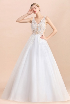 Elegant V-Neck Floral Lace A-line Wedding Dress Beach Sleeveless Tulle Church Dress_9