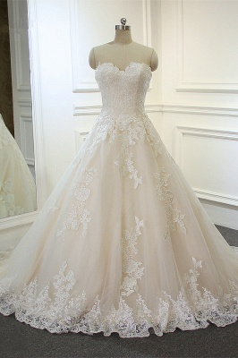 Sweeheart Sleeveless A-line Tulle Lace Appliques Bridal Gowns Floor Length Garden Wedding Dress_2