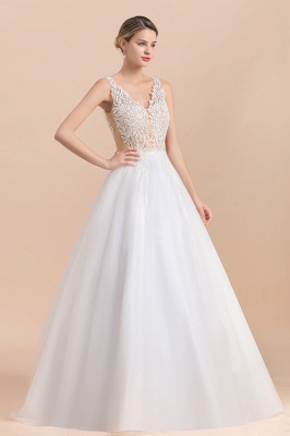 Elegant V-Neck Floral Lace A-line Wedding Dress Beach Sleeveless Tulle Church Dress_8