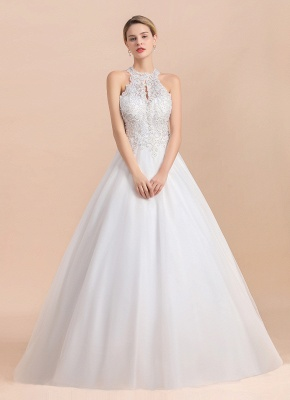 Gorgeous Halter Rhinstones Wedding Dress White Lace Appliques Tulle Garden Bridal Gowna_6