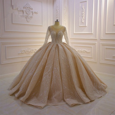 Shiny Ball Gown Tulle Jewel Long Sleeves Ruffles Wedding Dress_10