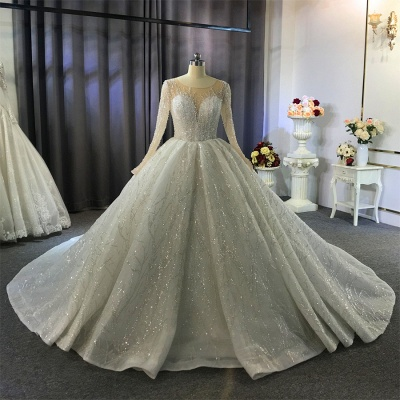 Shiny Ball Gown Tulle Jewel Long Sleeves Ruffles Wedding Dress_7