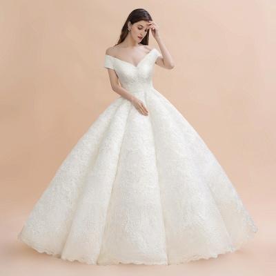 Elegante vestido de novia con apliques de encaje blanco fuera del hombro_3
