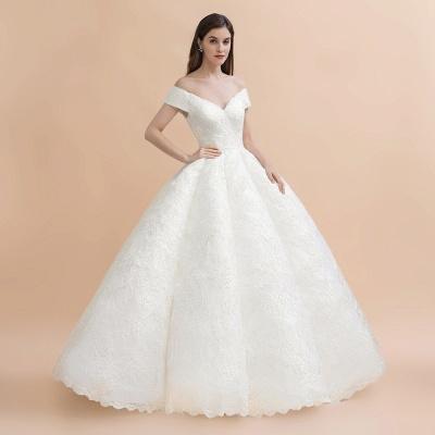 Elegante vestido de novia con apliques de encaje blanco fuera del hombro_7