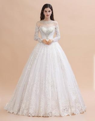 Glamorous Long Sleeve Beads White/Ivory Lace Appliques Wedding Dress_4