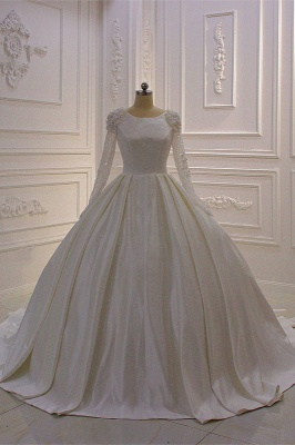 Ivory Long Sleeves Jewel Ruffles Flowers Bedaings Wedding dress_1