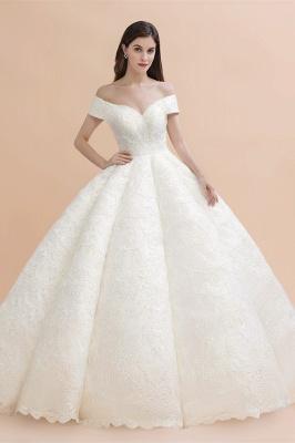 Elegant Off-the-Shoulder White Lace Appliques Bridal Gowns  Wedding Dress_1