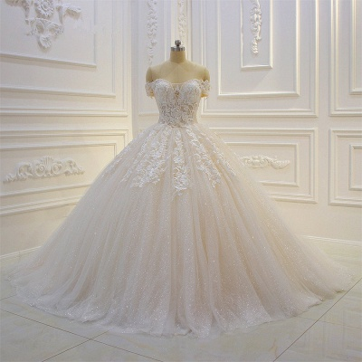 Off-the-shoulder Tulle Lace Appliques Sequined Wedding Dress_5