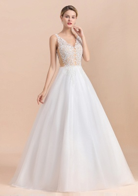 Elegant V-Neck Floral Lace A-line Wedding Dress Beach Sleeveless Tulle Church Dress_11