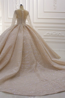 Shiny Ball Gown Tulle Jewel Long Sleeves Ruffles Wedding Dress_6