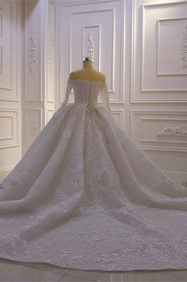 Luxury Ball Gown Long Sleeves 3D Lace Sweetheart Long Wedding Dresses_4