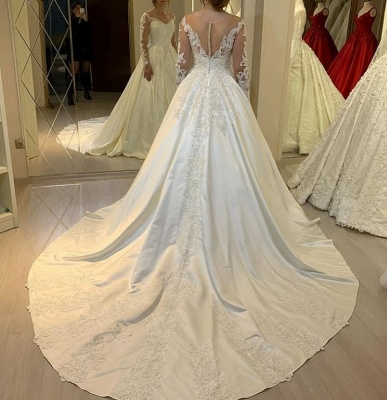 Elegant Off Shoulder Long Sleeves White Lace Satin Bridal Dress with Sweep Train_3
