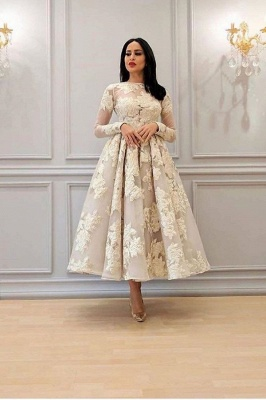 Charming Long Sleeves Floral A-line Evening Dress Ankle Length Party Dress_1