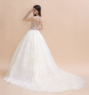 Charming Floral Lace Appliques Wedding Dress Gorgeous White Beads Bridal Gown_10